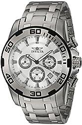 Invicta Men's Pro Diver Steel Bracelet & Case Quartz Silver-Tone Dial Analog Watch 22317