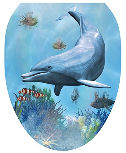 Toilet Tattoos, Toilet Seat Cover Decal, Dolphin Dream, Size Elongated
