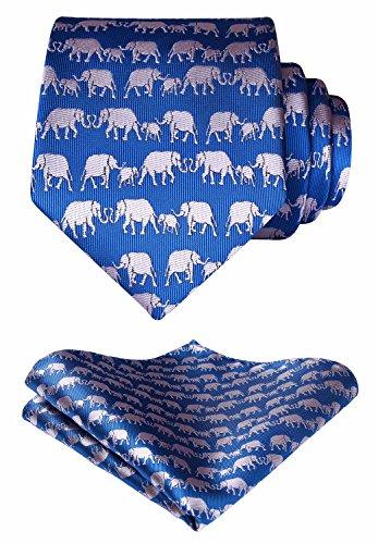 HISDERN Elephant Tie Handkerchief Prom Party Men's Necktie & Pocket Square Set Blue - Elephant Necktie