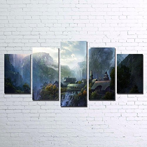- Canvas Pictures Wall Art Decor HD Prints 5 Pieces Mountain Waterfall Paintings Living Room Lord Of The Rings Poster Framework