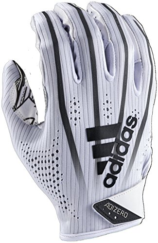adidas AF1000 Adizero 7.0 Receiver's Gloves, White/Black, Large (Nfl Glove Football)