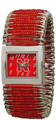 Safety Pin Beaded Watch - Nebraska Huskers Ladies Safety Pin Beaded Watch SPWNEB