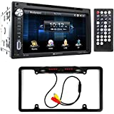 Soundstream VR-651B Double DIN Bluetooth In-Dash DVD/CD/AM/FM Car Stereo & Rear View Camera Input w/ Trigger + Cache Night Vision Car License Plate Rearview Camera (CAM810B)