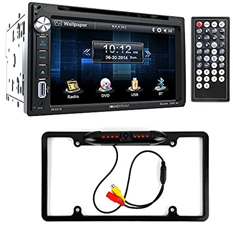 Soundstream VR-651B Double DIN Bluetooth In-Dash DVD/CD/AM/FM Car Stereo & Rear View Camera Input w/ Trigger + Cache Night Vision Car License Plate Rearview Camera (Duplicate Plate)
