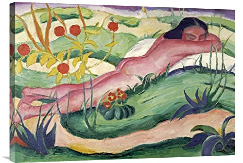 """Global Gallery GCS-265157-30-142 """"Franz Marc Nude Lying In The Flowers"""" Gallery Wrap Giclee on Canvas Print Wall Art"""