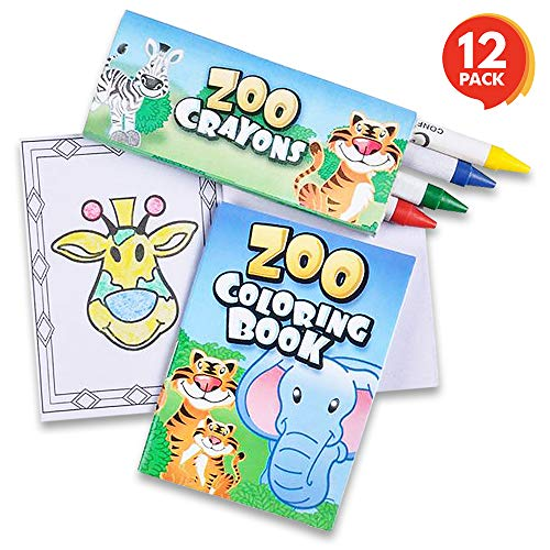 - ArtCreativity Zoo Animals Mini Coloring Book Kit (12 Sets) | Each Set Includes 1 Small Color Book & 4 Crayons | Fun Zoo Theme Party Favors/ Sleepover Party Supplies/ Coloring Activity for Boys - Girls