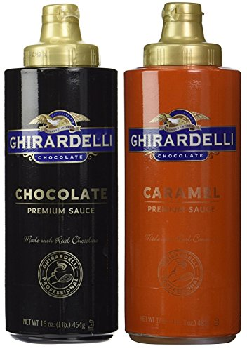Espresso Ice Cream (Ghirardelli Chocolate (16oz) & Caramel (17oz) Sauces in Squeeze Bottles)