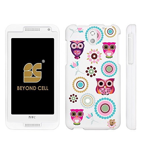 ,International,Prepaid)Beyond Cell ®Premium Protection Slim Light Weight 2 piece Snap On Non-Slip Matte Hard Shell Rubber Coated Rubberized Phone Case Cover With Design - Owl With Circle Collage Design - Retail Packaging ()