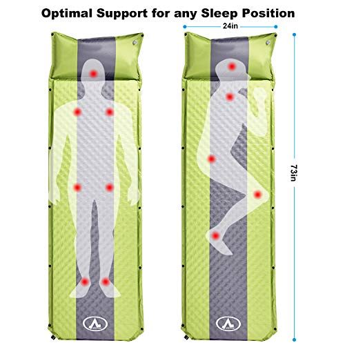 NSdirect 2 Camping Self Inflating Sleeping Pad with Pillow, Moisture-Free, Lightweight Foam Mat, Perfect for Backpacking, Hiking and Camping, Compact