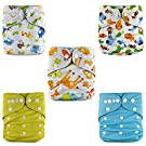 NEW DESIGN Bamboo Charcoal Cloth Diapers + Inserts Set from Jack Jill Baby (Animals 1)