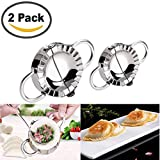 Stainless Steel Dumpling Maker 2 Pcs Small and Large Dumpling Mold Dough Press Cutter Wrapper Pie Crimper Pastry Tools Ravioli Mould