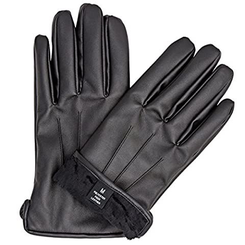 ZARACHI mens faux leather black fur lined gloves with tec touchscreen technology (XX-large) - Fur Leather Gloves