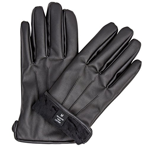 (ZARACHI mens faux leather black fur lined gloves with tec touchscreen technology (small))
