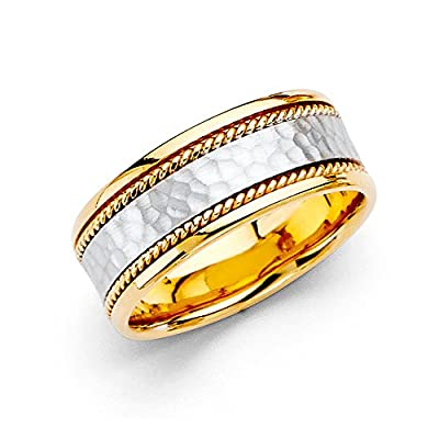 Wellingsale® 14k Two 2 Tone White and Yellow Gold Polished Satin 8MM Handmade Hammered Center Comfort Fit Wedding Band Ring