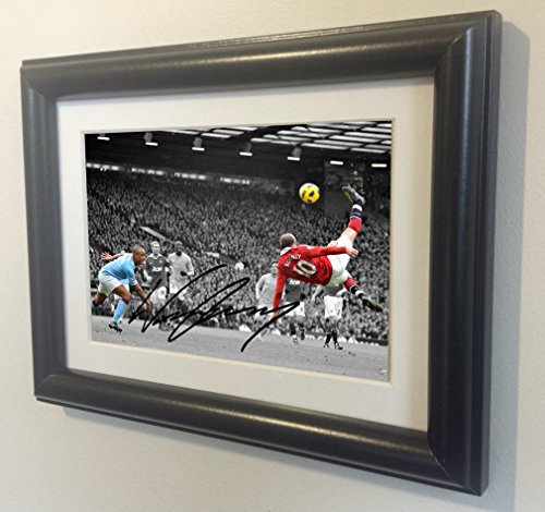 Signed Black Soccer WAYNE ROONEY The Overhead vs Man city Manchester United Autographed Photo Photograph Picture Frame Gift SM by kicks