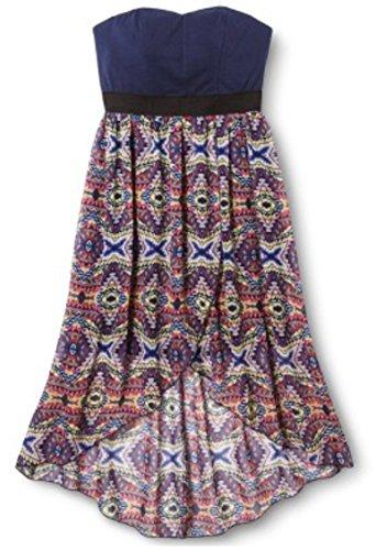 Xhilaration Women's Strapless High Low Dress (Large, Navy/Aztec Multi ()