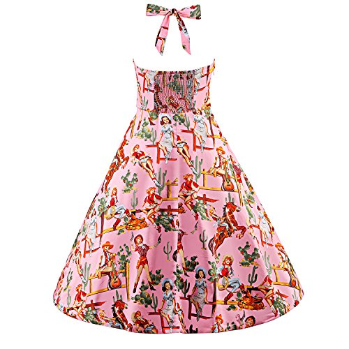 Dresses Vintage iLover 1950s Women's Sleeveless Pink Swing V022 Prom Rockabilly Hepburn Dress OqRwzq