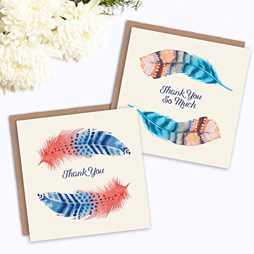 /_CS Wee Blue Coo Thank You Cards x6 Watercolour Feathers Multicoloured 6 Designs