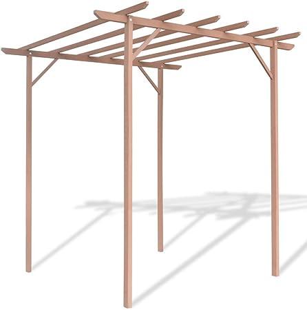festnight Pergola madera marrón con 4 Postes para jardín, terraza o patio 2 x 2 x 2 m: Amazon.es: Hogar