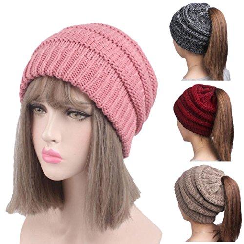 haoricu Women Hat, 2017 Fashion Winter Women Hole Knitting Beanie Turban Head Wrap Cap