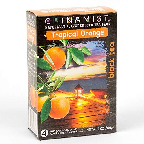 - China Mist - Naturally Flavored Tropical Orange Black Iced Tea Bags - Each Tea Bag Yields 1/2 Gallon
