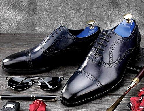 di di uomo convenzionale British in Scarpe Style Capo Blu UK8 pelle del EU44 Pelle Colore affari lavoro piccolo dimensioni Blu Scarpe usura posto di 5 quadrato Uomo da HWF in XqH7w1W678