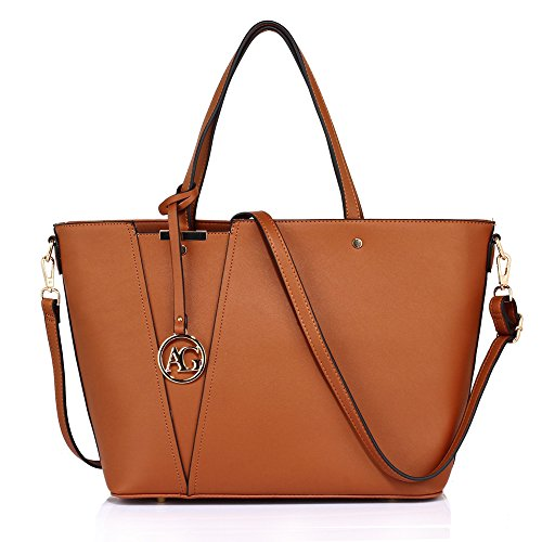 Womens Faux Leather Tote Shoulder Bag Soft Top Handle And Comfortable Long Shoulder (Just Fab Purses)