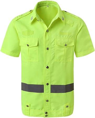 Ropa de seguridad Camisa Ropa Reflectante Camiseta de Seguridad Overoles Manga Corta Amarillo Liuyu. (Size : L): Amazon.es: Hogar
