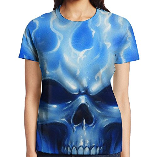 VHJDYK Women's Short Sleeve Blue Flames Skull T-Shirt Cotton Tee Full 3D Graphic Printed