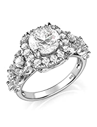 Sterling Silver 925 Round Brilliant CZ Cubic Zirconia Halo Engagement Ring