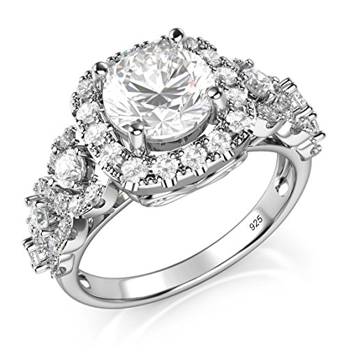 (Sz 6 Sterling Silver 925 Round Brilliant CZ Cubic Zirconia Halo Engagement Ring)