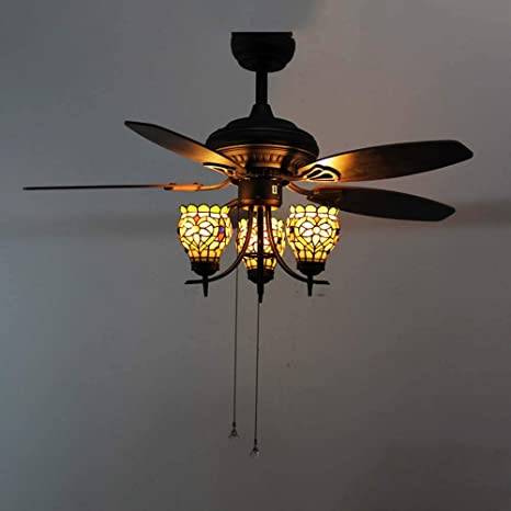 Magnificent Tiffany Style Ceiling Fan With Lights Kit 5 Wood Blades Home Remodeling Inspirations Cosmcuboardxyz