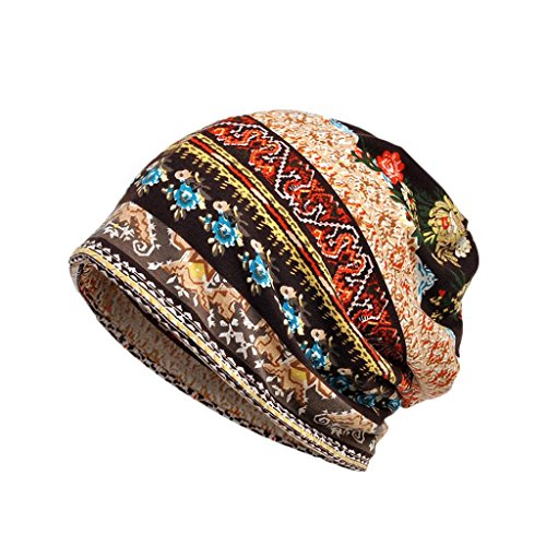 - Staron Unisex Cotton Scarf Hat Ruffle Cancer Beanie Collar Turban Head Wrap Cap (Coffee)
