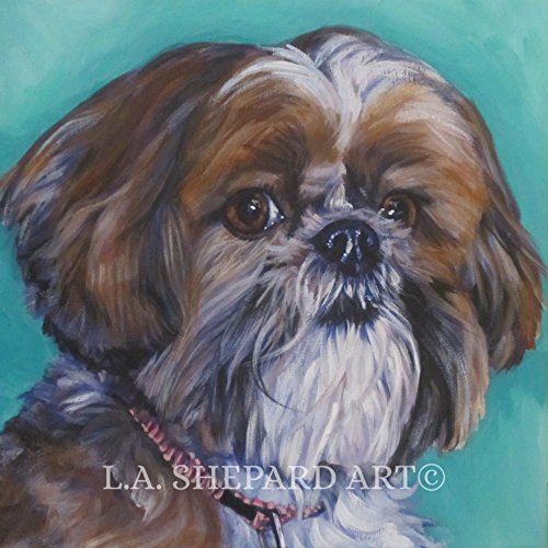 (A Shih Tzu dog art portrait print of an LA Shepard painting 12x12