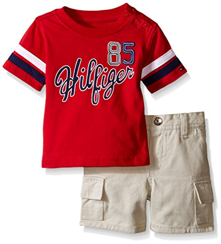 Brushed Twill Shorts (Tommy Hilfiger Baby Boys' Solid Jersey Tee and Brushed Twill Shorts, Red, 3-6 Months)