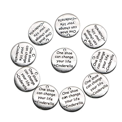 Silver Tone One Shoe Can Change Your Life Round Message Charms for Pendants, Earrings, Zipper Pulls, Bookmarks, Key Chains and More(25mm) ()