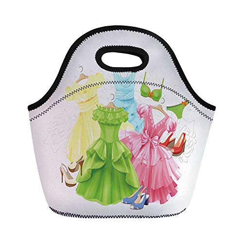 Heels and Dresses Durable Lunch Bag,Princess Outfits Bikini Shoes Wardrobe Party Costumes Girls Room Decor for School Office,11.0