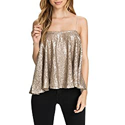 Women's Sparkly Sequin Spaghetti Strap Top