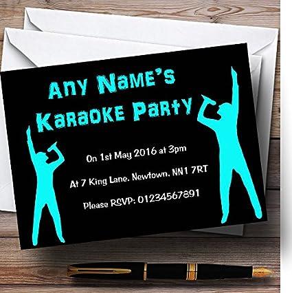 Negro Y Aqua Karaoke Personalizado Invitaciones Para Fiesta