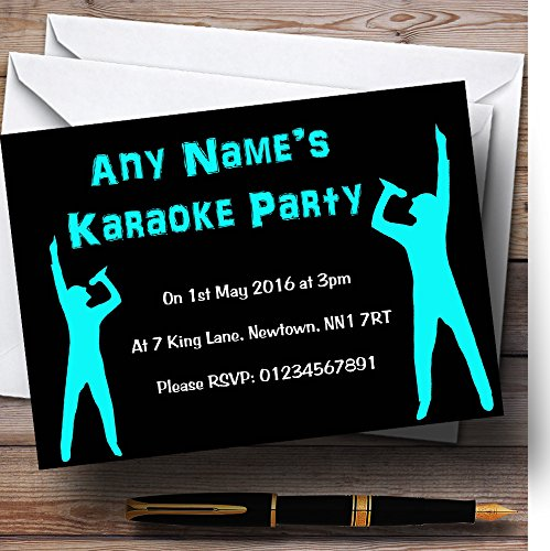 Black And Aqua Karaoke Personalized Birthday Party Invitations