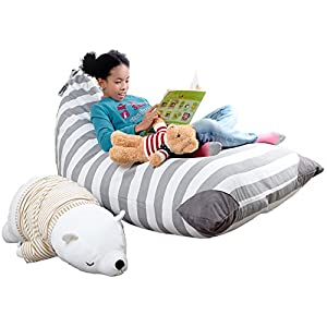 XL Stuffed Animal Storage Bean Bag Chair By mylola | premium quality cotton canvas cover | kids soft toy organizer fits 200L | makes comfy lounger