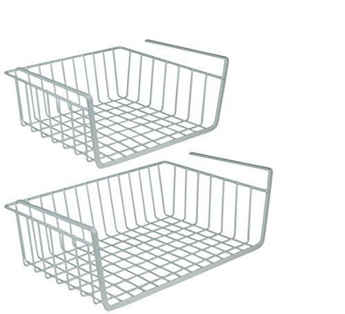 DecorRack Set of 2 Under Shelf Basket, Undershelf Wire Rack Storage Organizer with Hooks for Kitchen Pantry Cabinet Closet, Hanging Undershelf Basket Storage Rack, White (Set of 2) by DecorRack