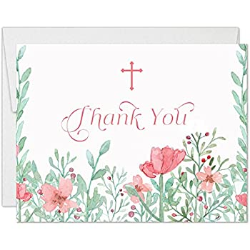 Amazon Com Baby Girl Christening Delicate Pink Floral Thank You
