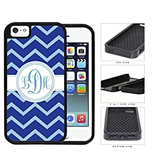 Blue And Light Blue Chevron Monogram (Custom Initials) 2-Piece Dual Layer High Impact Hard shellSilicone Cell Phone Case Case For Sam Sung Note 4 Cover
