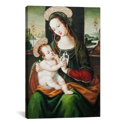iCanvasART 2110 Silent Night Madonna with Child and Ipod Canvas Print by Banksy, 26 by 18-Inch, 0.75-Inch Deep