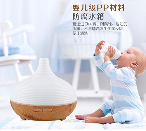 Shindn 300ML Essential oil Diffuser Electric Ultrasonic Cool Mist Humidifier Aromatherapy with 7 Color LED Lights Changing, Waterless Auto Shut-off Air Purifier (Wood grain) by Shindn (Image #2)