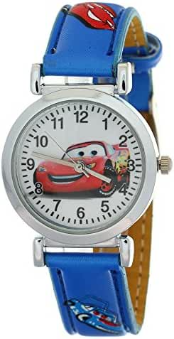 TimerMall Kids Children Boys Girls Quartz Cartoon Car Motif Blue Leather Strap Analog Wristwatch