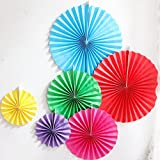 LG-Free 12pcs Colorful Party Fan Tissue Paper Fan Round Folding Fans Wall Hanging Fan Fiesta Wedding Birthday Kids Supplies for Christmas Tree Home Decorations, Party, Wedding (Multicolor-1)