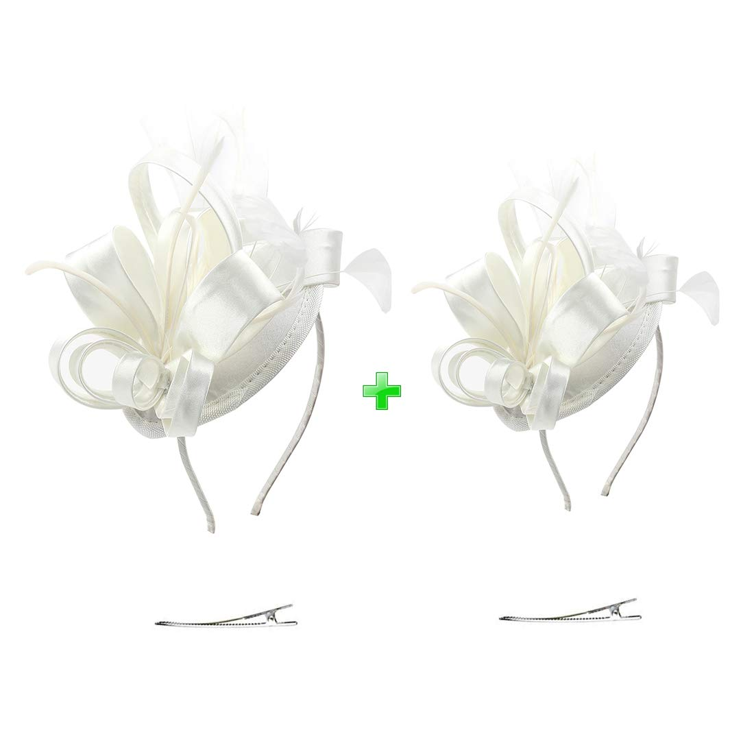 Felizhouse Kentucky Derby Fascinator Hats Feather Tea Party Hats Headpieces Ascot Fascinator Headband for Women Kids Pets(#1 Satin White Large+Small)