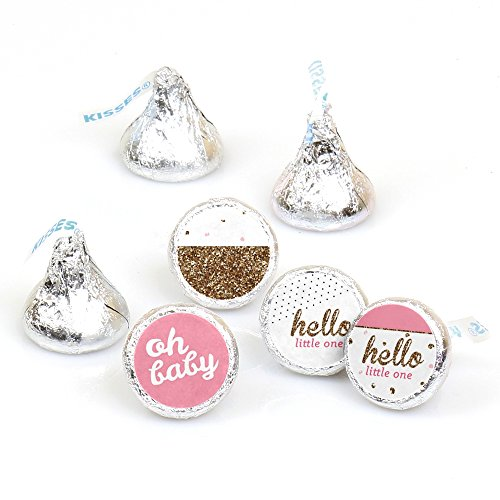 Hello Little One - Pink and Gold - Girl Baby Shower Party Round Candy Sticker Favors - Labels Fit Hershey's Kisses (1 sheet of (Candy Baby Shower)